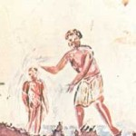 Early Christian painting of a baptism in the Saint Calixte Catacomb (ca. 3rd century)
