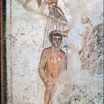 Baptism fresco on the catacomb of Saints Marcellinus and Peter, Via Labicana, Rome, Italy