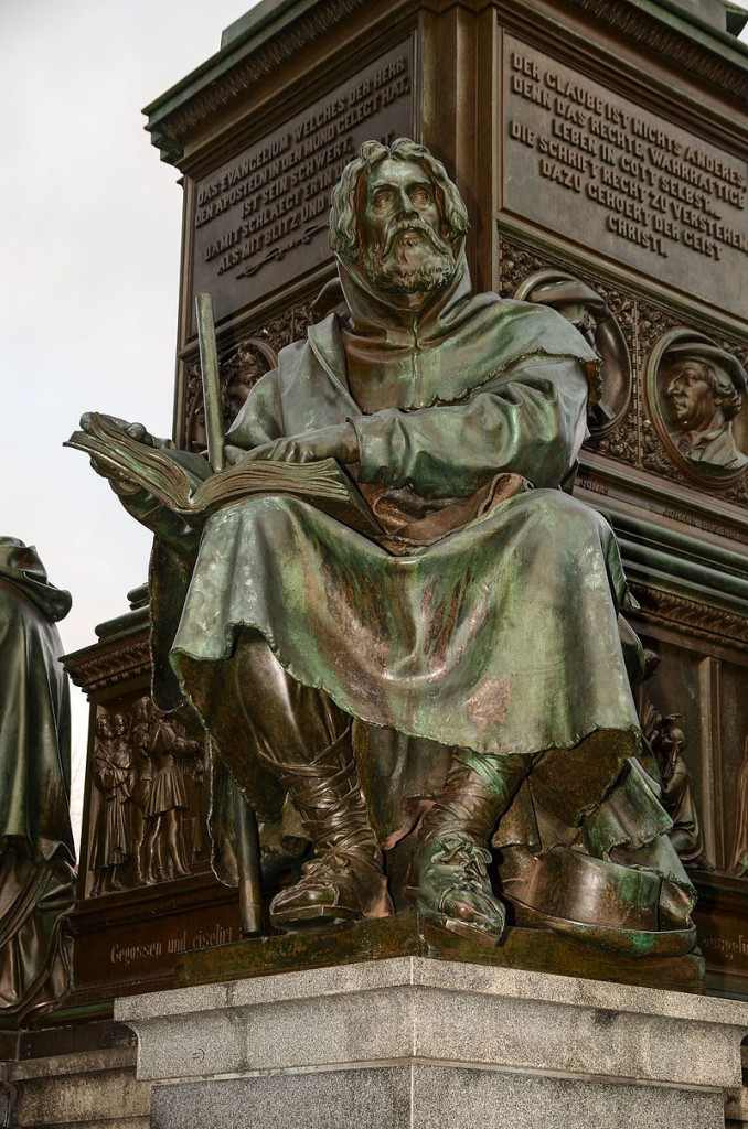 Statue of Peter Waldo at the Luther Memorial at Worms, Germany