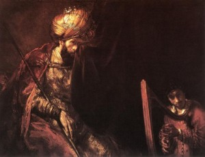 David playing the harp before Saul by Rembrandt
