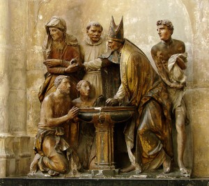 Baptism of Augustine of Hippo in a sculpture at Troyes Cathedral (1549)