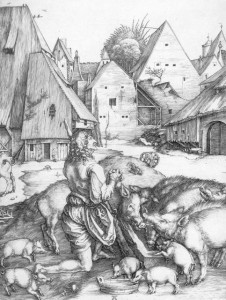 The Prodigal Son with the Pigs by Albrecht Durer (1496)