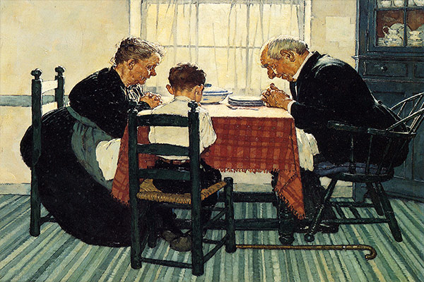 """Family Grace (Pray)"" by Norman Rockwell"