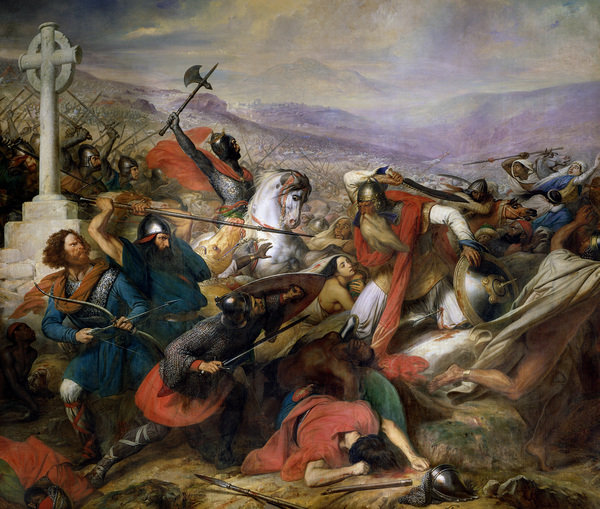 Charles de Steuben's Battle of Poitiers (Tours) in 732 depicts a triumphant Charles Martel (mounted) facing Abdul Rahman Al Ghafiqi (right), ca. 1834-37